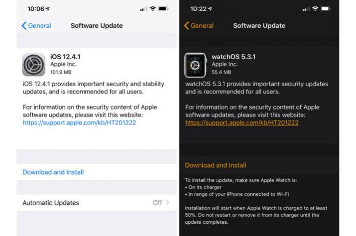 Apple ปล่อย iOS 12.4.1 และ watchOS 5.3.1 เพื่อแก้ปัญหาด้านความปลอดภัย